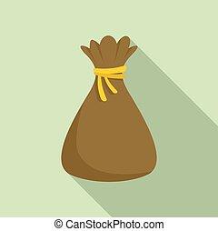 Magic bag icon, flat style