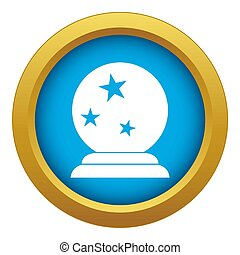 Magic ball icon blue isolated