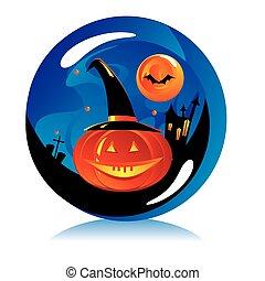 magic ball with symbols of Halloween