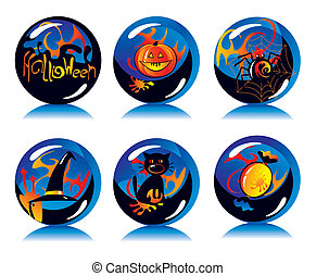 magic balls with symbols of Halloween