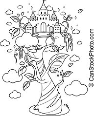 Magic beanstalk and castle. Vector black and white coloring page.