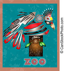 magic bird - big bird with colorful feathers sitting on a...