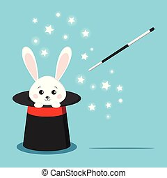 Magic black hat with sweet white rabbit inside and magic wand isolated on blue background. Vector flat style cartoon illustration.