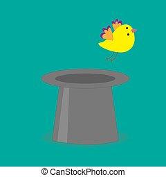 Magic black hat with yellow flying bird. Flat design style.