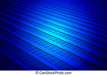 magic blue light over abstract metal line, science details