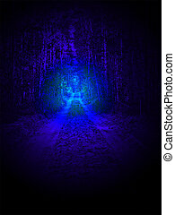 magic blue light over ground road in forest birch-tree, unknown science details