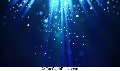 magic blue light rays and particles