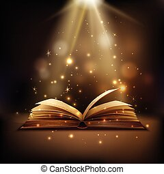 Magic Book Background - Open book with mystic bright light...