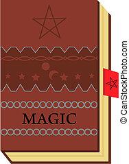 magic book - brown color book with magic symbols...