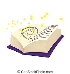 Magic book cartoon icon