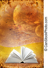 Magic book - Fantasy world. Vertical grunge background with ...
