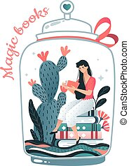 Magic book flask bank, female character sitting and read ...