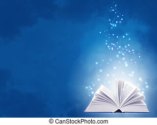 Horizontal background of blue color with magic book