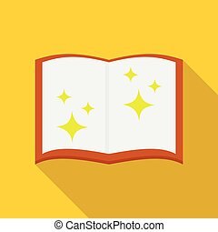 Magic book icon, flat style