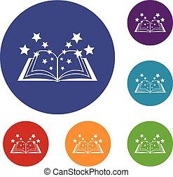 Magic book icons set