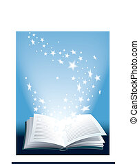 Magic book - Open magic book with flying shining stars,...