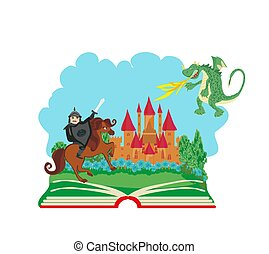 magic book – Knight fighting dragon