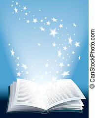 Magic book - Open magic book with flying shining stars
