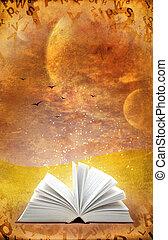 Magic book - Fantasy world. Vertical grunge background with...