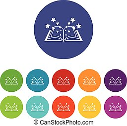 Magic book set icons