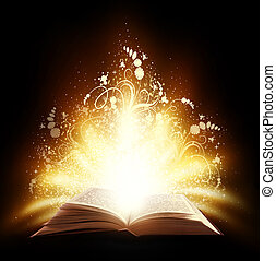 Magic book - Magic open book with light and ornate on a...