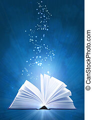 Magic book - Vertical background of blue color with magic...