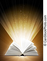 Magic book - Vertical background of brown color with magic...