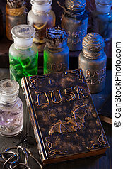 magic book witch apothecary jars potions halloween...