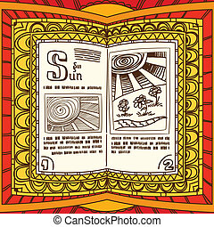 Magic book with the spell of sun
