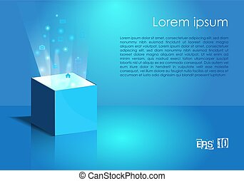 Magic box with light and icon in blue color