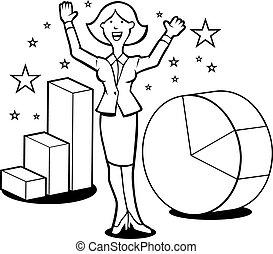 Magic Business Woman Line Art