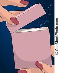 magic., cadeau, mains, illustration, bleu, femmes, sombre, étoiles, vecteur, polygonal, fond, résumé, box., ouvert