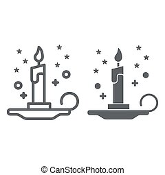 Magic candle line and solid icon, Halloween concept, burning candle and stars sign on white background, wax candle on candlestick icon in outline style for mobile, web design. Vector graphics.