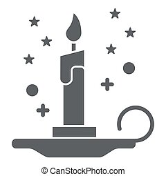 Magic candle solid icon, Halloween concept, burning candle and stars sign on white background, wax candle on candlestick icon in glyph style for mobile, web design. Vector graphics.