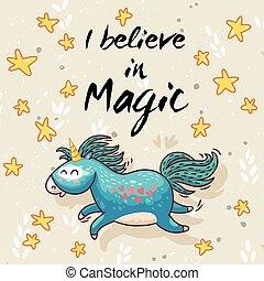 Magic card with cute unicorn. Vector cartoon illustration