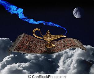 magic carpet ride - A magic lamp flying on a magic carpet