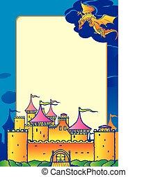 Magic castle and dragon.