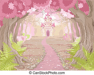 Fantasy landscape with magic fairy tale princess castle