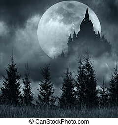 Magic castle silhouette over full moon at mysterious night. ...