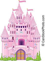 Vector Illustration of a Fairy Tale Princess Castle