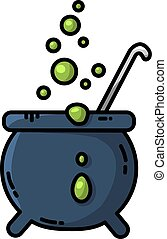 Magic cauldron flat icon. Vector isolated cartoon style