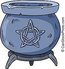 Hand drawn magic cauldron vector  Blue boiling magic cauldron vector