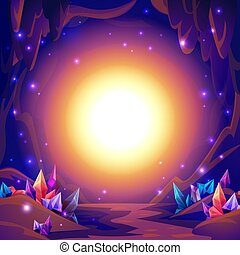 Magic cave. Fairy landscape of a cave with crystals and mystery lights. Fantasy background.