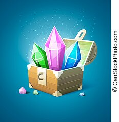Magic chest trunk with precious stone crystals. Eps10 vector illustration