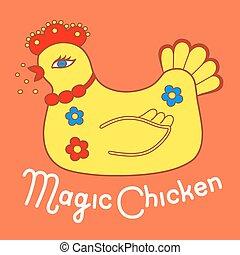 Magic chicken logo. Vector illustration isolated on orange ...