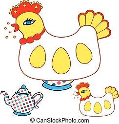 Magic chicken warmer for teapot. Vector illustration ...