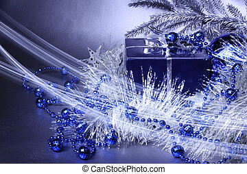 Magic christmas gift with silver and blue decoration