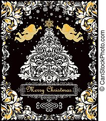Magic Christmas greeting card with paper cut out floral xmas white tree, gold angels and decorative floral frame