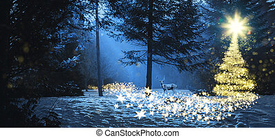 Magic christmas scene in the woods with a deer
