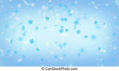 magic christmas snowfall on blue